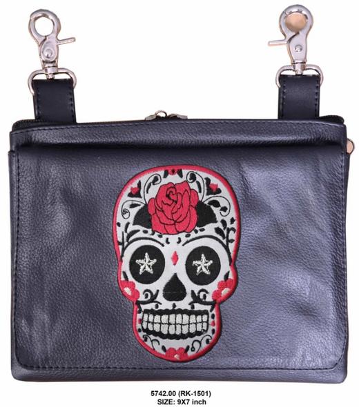 Leather Clip on Bag - Sugar Skull Design - Belt Bag - 5742-00-UN