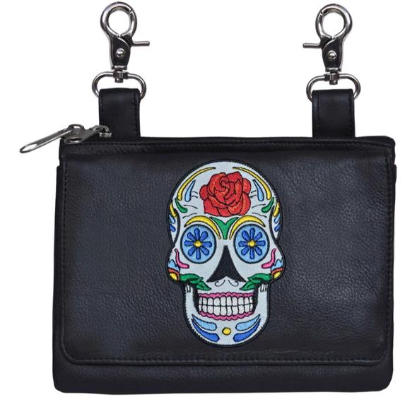 Leather Clip on Bag - Sugar Skull Design -  Belt Bag - 5740-00-UN