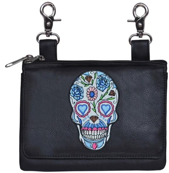 Ladies Leather Clip on Bag With Sugar Skull Design - SKU 5737-00-UN