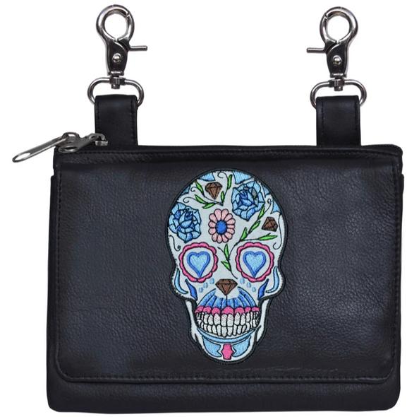 Leather Clip on Bag - Sugar Skull Design - Belt Bag - 5737-00-UN