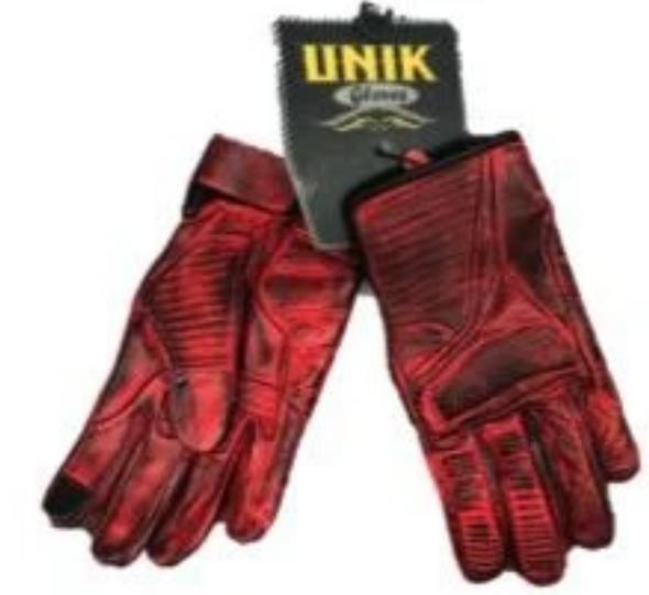 Men's Full Finger Distressed Red Reinforced Leather Gloves - SKU 8175-00-UN