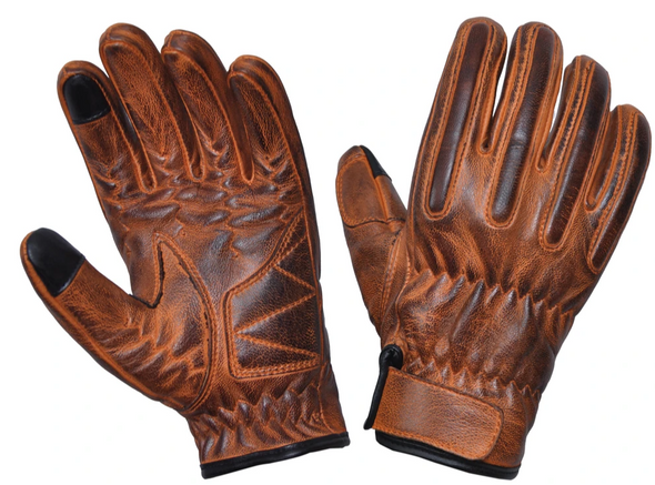 Men's Full Finger Distressed Brown Reinforced Leather Gloves - SKU 8176-00-UN. Made of premium lambskin leather. Distressed brown. Perforated leather for increased airflow. Reinforced on the Palms. Reinforced Stitching. Touch Technology. You no longer have to take off your gloves to use your phone. Velcro strap at wrist. Free shipping.