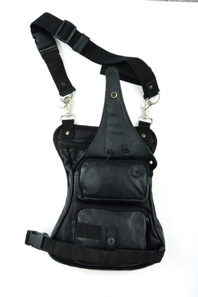 Black Leather Multi Pocket Thigh Bag with Gun Holster Pocket - SKU DS5850-DS
