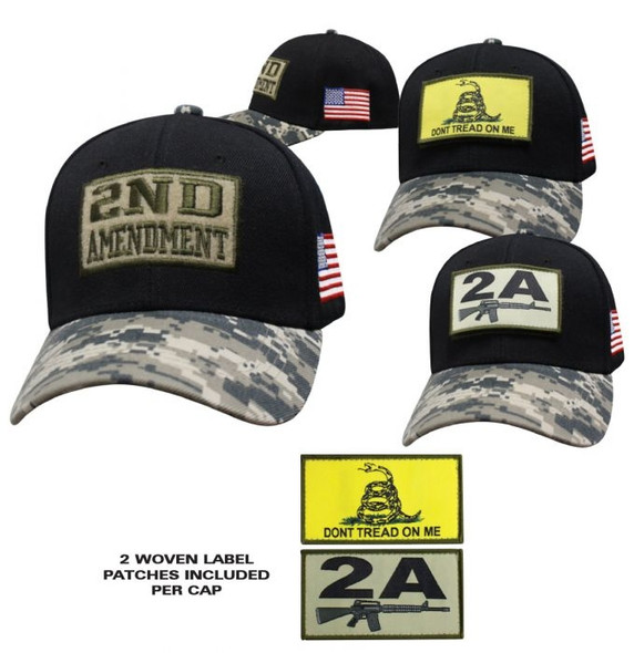 2nd Amendment - Don't Tread On Me - Baseball Cap - Black and Digital Camo - SKU SPBCBDC-DS