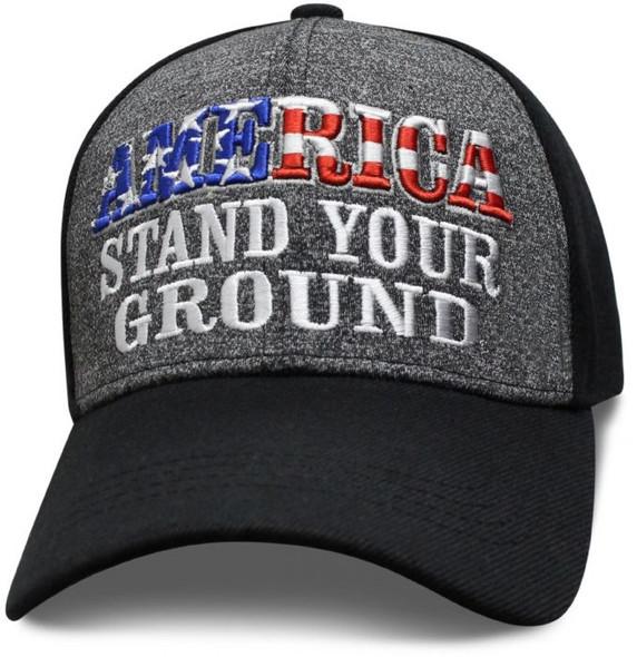 America Stand Your Ground - Baseball Cap - Black and Heather - SKU SAMSTD-DS