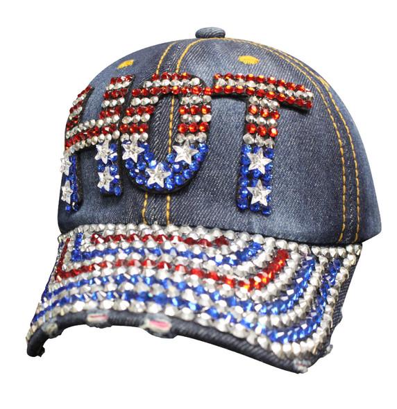 Denim Bling - HOT - America - Baseball Cap - SKU SBLAMH-DS