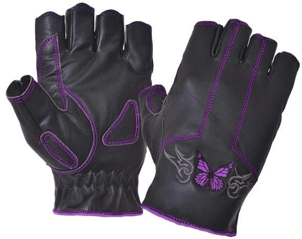 Women's Fingerless Leather Motorcycle Gloves - Purple Butterfly Design - SKU 8363-17-UN