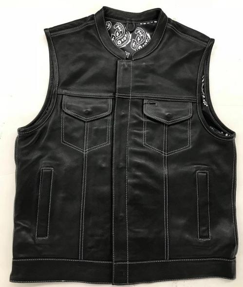 Men's Leather Club Vest - Black Paisley Liner - Big Sizes - 4X 5X 6X 7X 8X - 6665-00-UN