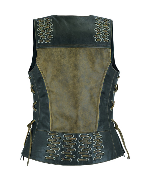 Women's Two Tone Leather Vest With Grommet and Lacing Accents - DS298-DS