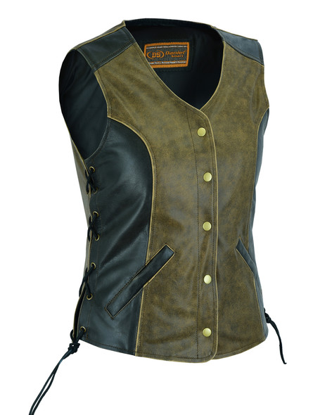 Women's Two Tone Leather With Longer Body 3/4 Vest - Side Laces - DS214-DS