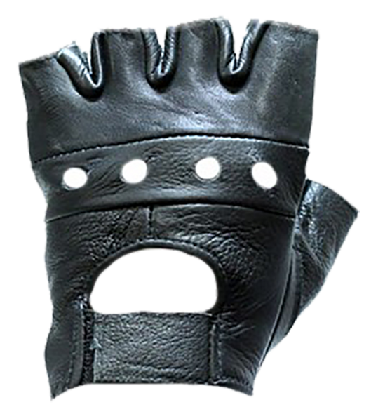 Fingerless Leather Motorcycle Gloves - SKU GL2008-DL