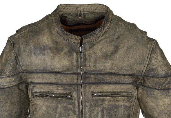 Men's Leather Motorcycle Jacket With Concealed Carry Pockets - Distressed Brown - MJ796-12-DL