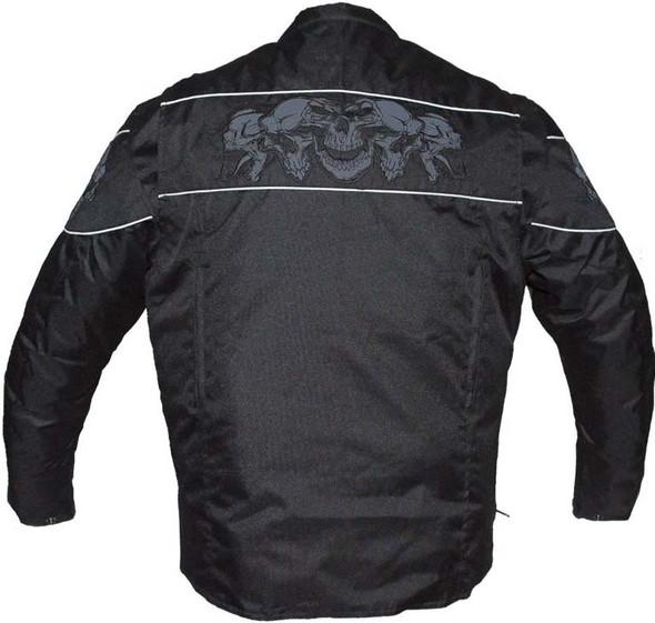 Textile Motorcycle Jacket - Reflective Skulls - Up To 64 - Concealed Carry Pockets - MJ825-CC-DL