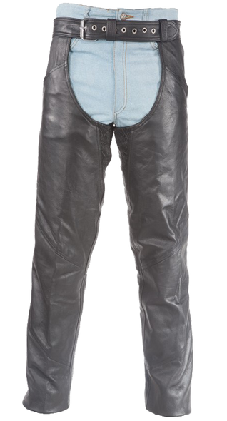 Biker Leather Chaps With Thigh Stretch for Men or Women - SKU C332-RC-DL