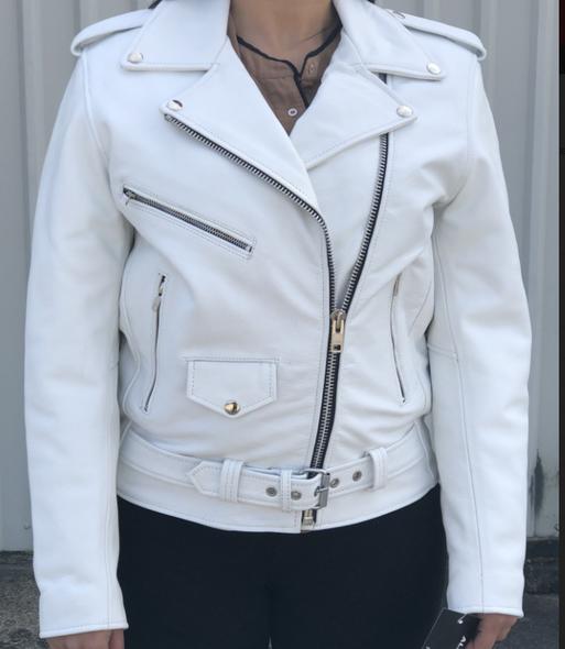 Ladies Classic Biker White Leather Motorcycle Jacket - SKU AL2124-AL