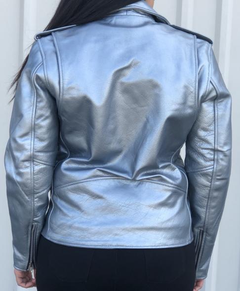 Ladies Classic Biker Silver Leather Motorcycle Jacket - SKU AL2125-AL