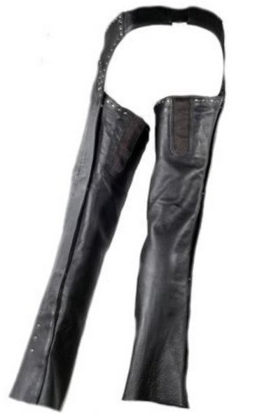 Ladies Low Rise Leather Chaps With Studs in Premium Leather - SKU C1007-11-DL
