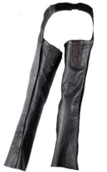 Women's Low Rise Leather Chaps - Studs - Premium Leather - C1007-11-DL