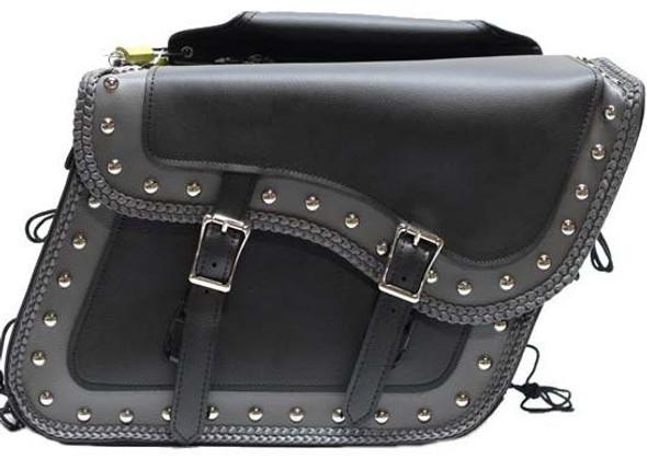 Saddlebags - PVC - Gray Trim - Studs - Motorcycle Luggage - SD4054-PV-DL