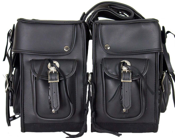 Black PVC Motorcycle Saddlebags with Conchos - Motorcycle Luggage - SKU SD2011-NS-PV-DL