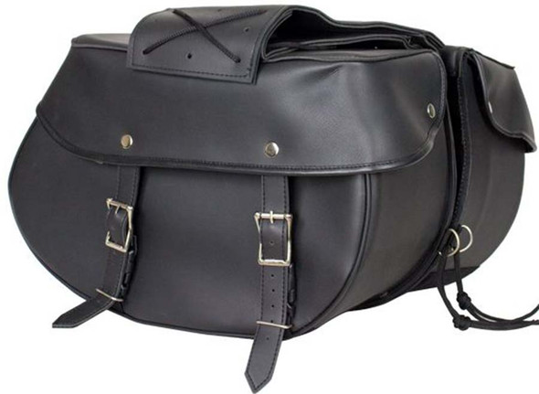 Black PVC Motorcycle Saddlebags - Motorcycle Luggage - SKU SD4003-PV-DL