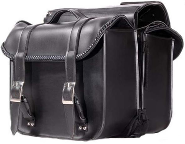 Black PVC Throwover Motorcycle Saddlebags With Braid - Motorcycle Luggage - SKU SD4019-PV-DL