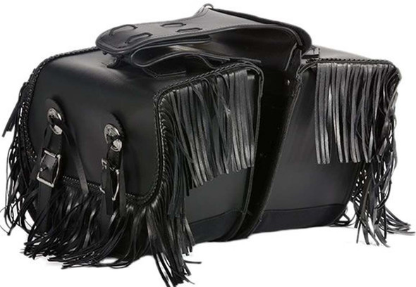 PVC Motorcycle Saddlebags With Fringe Braid and Conchos - SKU SD4038-PV-DL