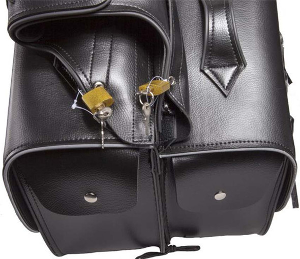 Black PVC Motorcycle Saddlebags With Reflective Trim - Motorcycle Luggage - SKU SD4039-PV-DL