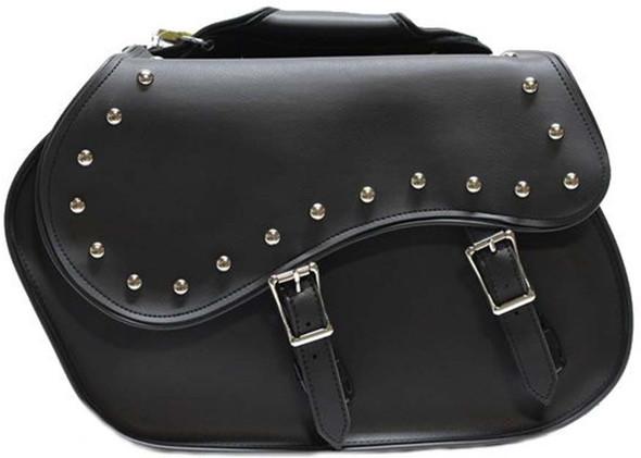 Saddlebags - PVC - Slanted - Studs - Motorcycle Luggage - SD4055-PV-DL