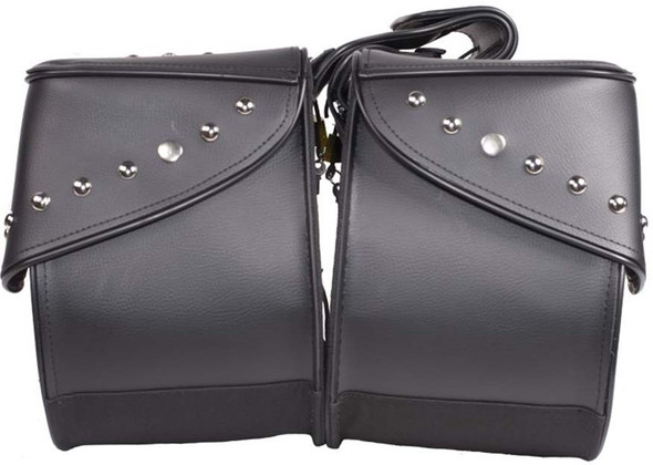 Black PVC Motorcycle Saddlebags with Studs - Motorcycle Luggage - SKU SD4068-PV-DL