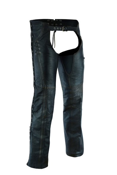 Women's Hip Set Leather Chaps in Premium Distressed Lambskin Leather - SKU DS-490-DS