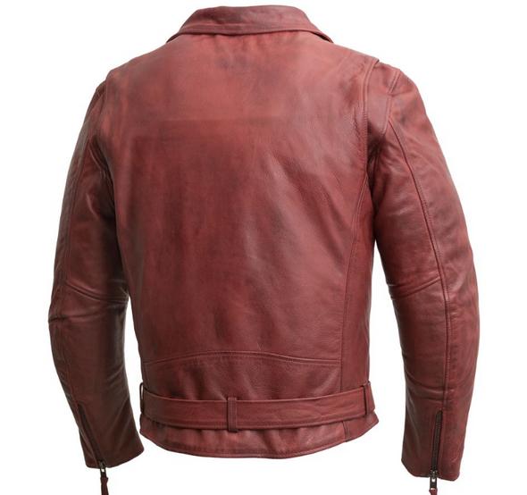 Men's Oxblood Leather Motorcycle Jacket - Armor Pockets - Fillmore - FIM208CDLZ-OX-FM