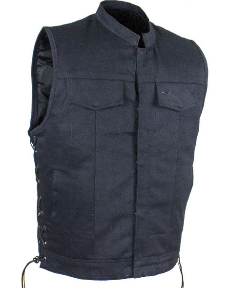 Denim Motorcycle Club Vest - Men's - Up To Size  60 - Big and Tall - CL-MV9320-ZIP-BD-DL