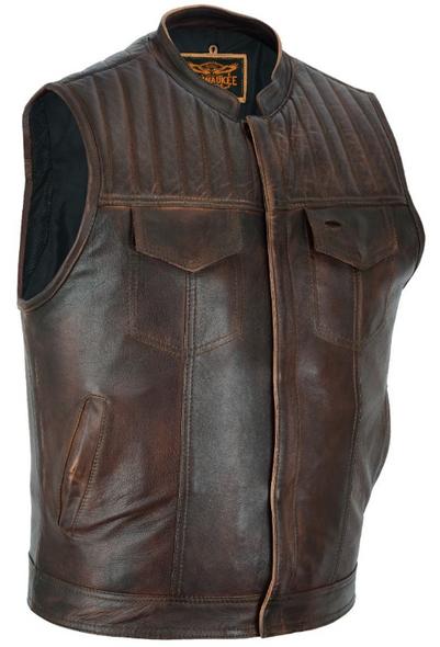 Men's Naked Leather Motorcycle Club Vest - Distressed Brown - MR-MV320-PD-18-DL