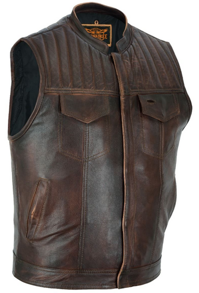 Leather Motorcycle Vest - Men's - Up To Size 60 - Distressed Brown - MR-MV320-PD-18-DL