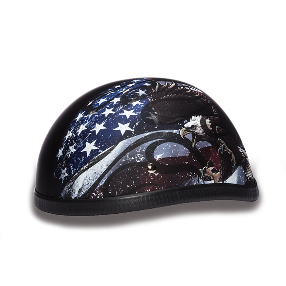 Novelty Motorcycle Helmet - USA Flag Eagle - Shorty - 6002USA-DH