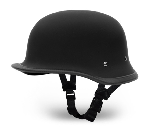 Novelty Motorcycle Helmet - Dull Flat Black - Big German - 1005B-DH