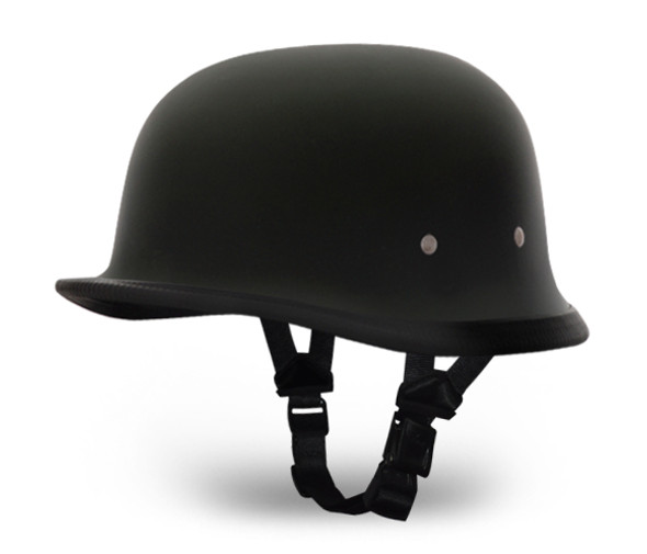 Novelty Motorcycle Helmet - Dull Flat Black - German - 1004B-DH