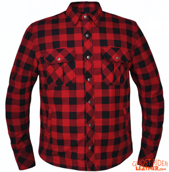 Flannel Motorcycle Shirt - Men's - Red and Black - Up To Size 8XL - TW136-07-UN
