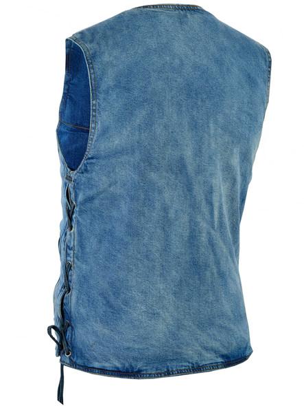 Men's Denim Motorcycle Vest - Blue - Single Panel Back - SKU DM905BU-DS. Big Sizes available. 4X 5X 6X 7X 8X.