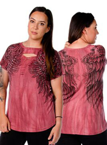 Women's Sliced Short Sleeve Shirt - Wing Graphics and Stones - SKU 7726BRG-MW-DS