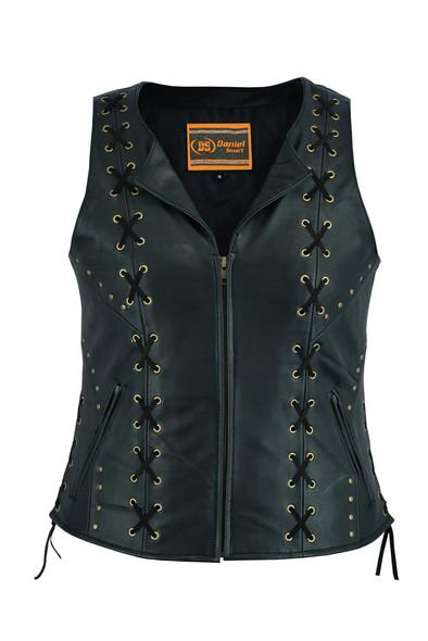 Women's Ultra Soft Black Leather Vest - Lacing Design - SKU DS233-DS