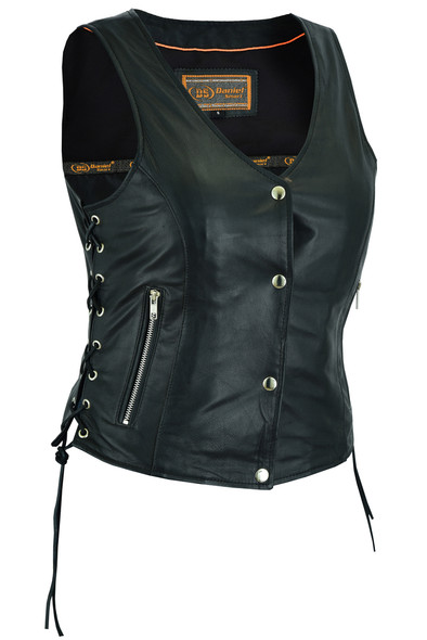 Women's Full Cut Great Fit Leather Vest - Side Laces - Concealed Carry - SKU DS294-DS