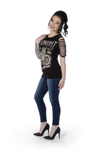 Women's Sliced Sleeve Shirt - Midnight Rider Graphic - Motorcycle - SKU 7646BLK-DS