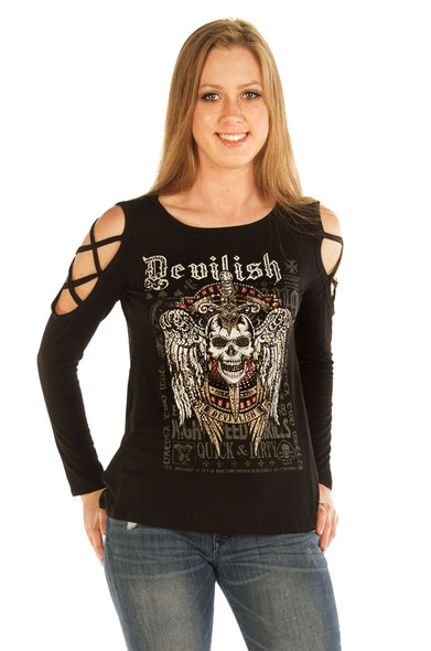 Women's Cold Shoulder Devilish Raven Shirt - Open Sleeves - SKU 7697BLK-DS