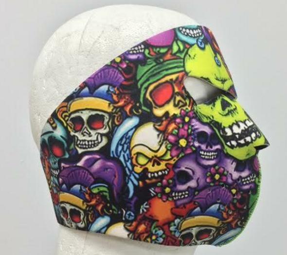 Full Face Neoprene Face Mask - Color Skulls- Motorcycle Mask - FMZ06-HI