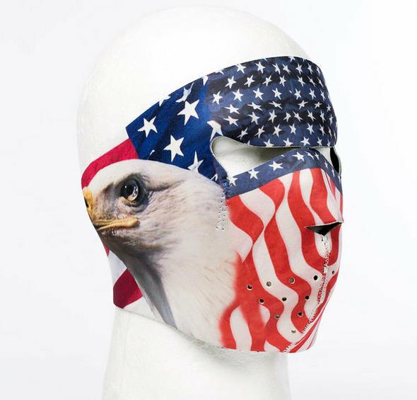 Full Face Neoprene Face Mask - American Flag - Eagle - Motorcycle Mask - FMZ12-HI