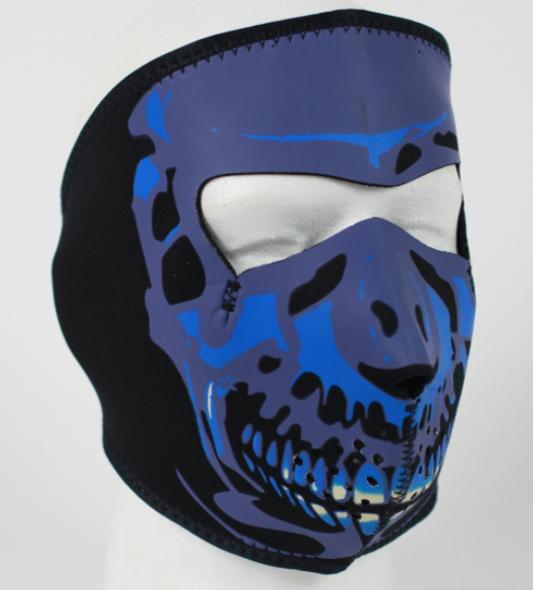 Full Face Neoprene Face Mask - Blue Skull - Motorcycle Mask - FMB09-HI