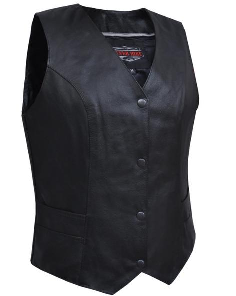 Women's Leather Motorcycle Vest - Snap Front Closure - 2658-LC-UN