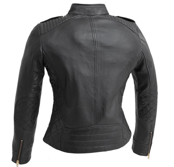 Madelin - Women's Fashion Leather Jacket - Diamond Quilted Accents - WBL1725-FM